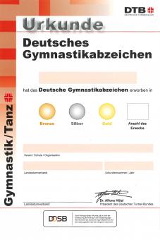 Urkunde Deutsches Gymnastikabzeichen 2020