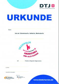 Trampolin-Abzeichen Kinder Urkunde 10er